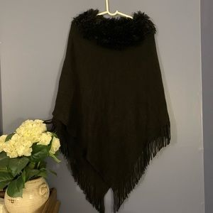Black Poncho with Fur Collar